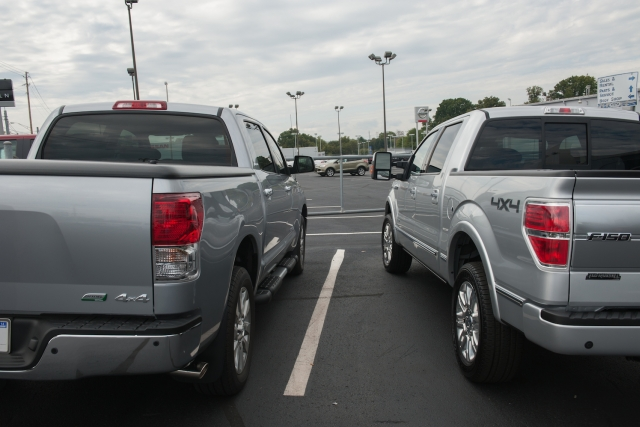 2013 Toyota Tundra Crewmax Platinum (left) and 2013 Ford F-150 Platinum EcoBoost