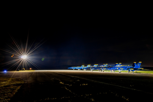 Night view of the U.S. Navy Blue Angels from our Airstream