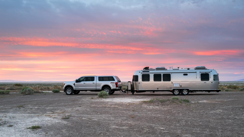Boondocking on BLM overlooking the Bonneville Salt Flats