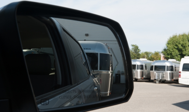 Toyota Tundra hitched to new Airstream at Colonial Airstream in Lakewood, New Jersey