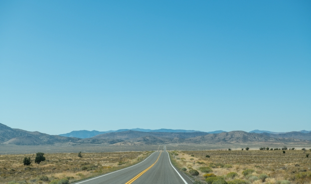 No traffic on the Loneliest Road in America