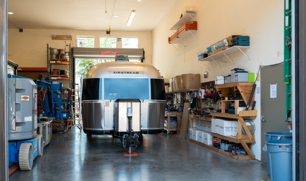 Airstream inside AM Solar bay