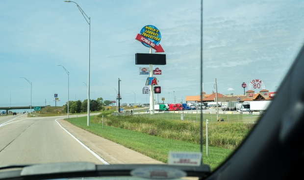 Exit to Iowa 80 Truckstop