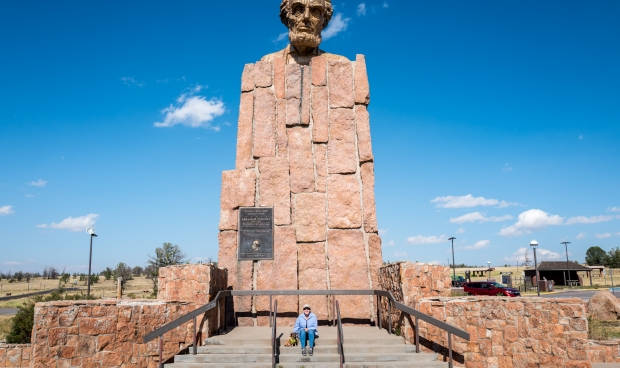 Abraham Lincoln's statue watches over traffic on I-80 at the Summit Rest Area
