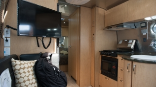 Galley view of our new Airstream 25FB Flying Cloud.