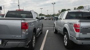 2013 Toyota Tundra Crewmax Platinum (left) and 2013 Ford F-150 Platinum EcoBoost