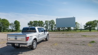 Movie time at Route 66 Twin Drive-In Theatre in Springfield, Illinois