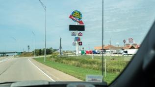 Exit to Iowa 80 Truckstop
