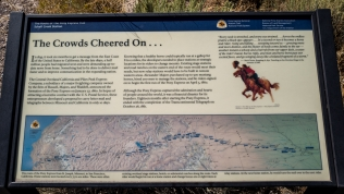 Marker with history of the Pony Express Trail